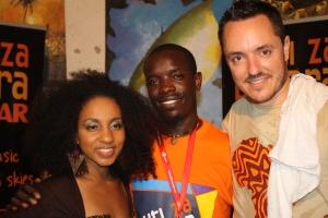 Zimbabwe's Councious poetry/hip hop Artist Comrade Fatso, Ojay and Amara Brown at Sauti za Busara 2013